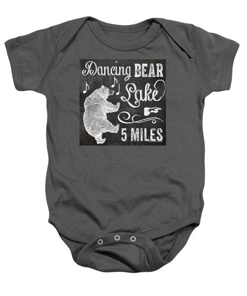 Dancing Bear Lake Rustic Cabin Sign Baby Onesie