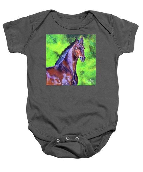 Dark Red Bay Horse Baby Onesie