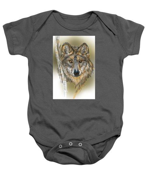 Dark Wolf With Birch Baby Onesie