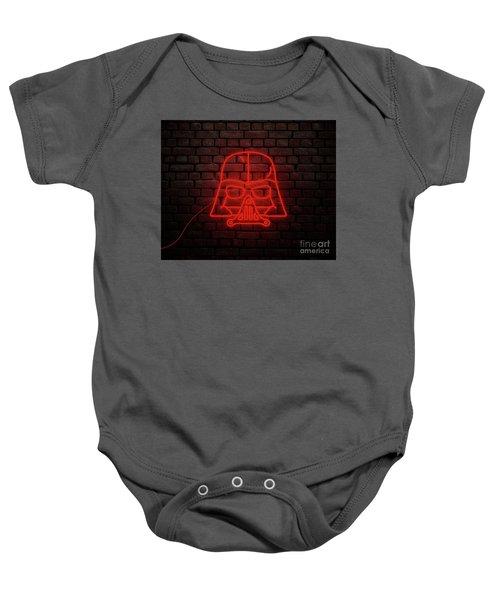 Darth Vader Neon Style In Red Light Baby Onesie