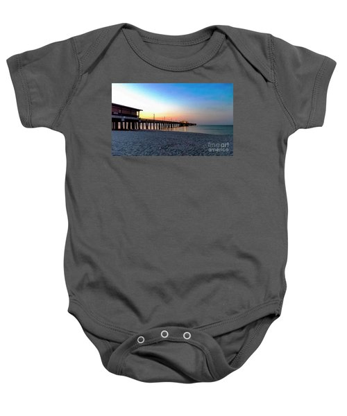 Dawn At Gulf Shores Pier Al Seascape 1283a Digital Painting Baby Onesie