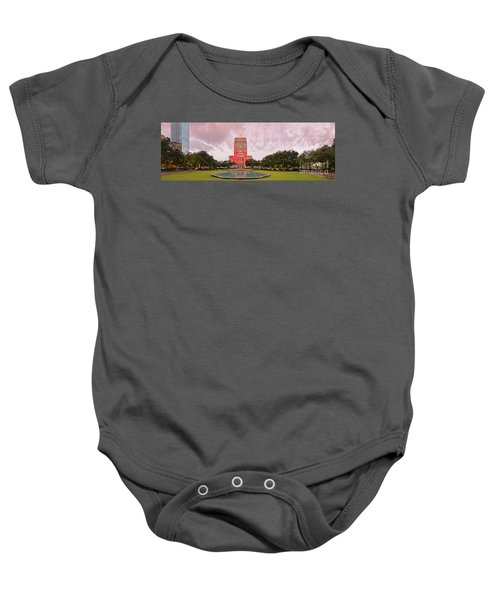 Dawn Panorama Of Houston City Hall At Hermann Square - Downtown Houston Harris County Baby Onesie