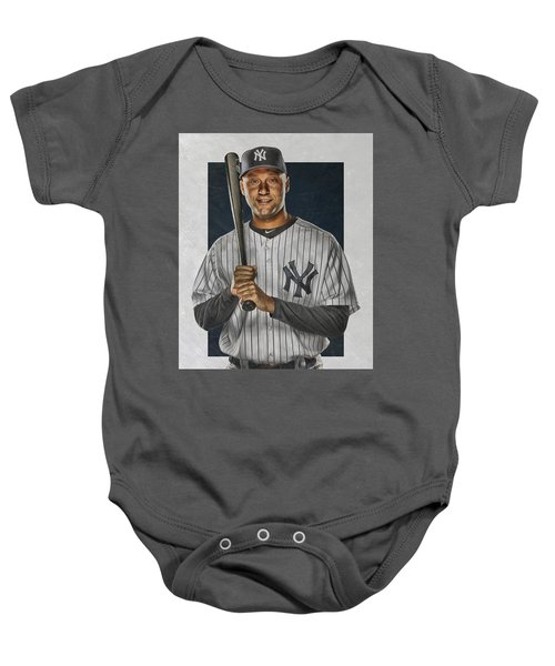 Derek Jeter New York Yankees Art Baby Onesie by Joe Hamilton