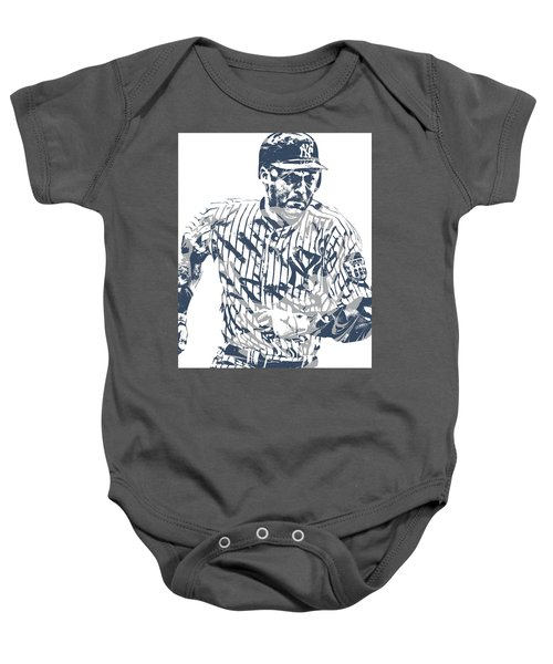 Derek Jeter New York Yankees Pixel Art 12 Baby Onesie