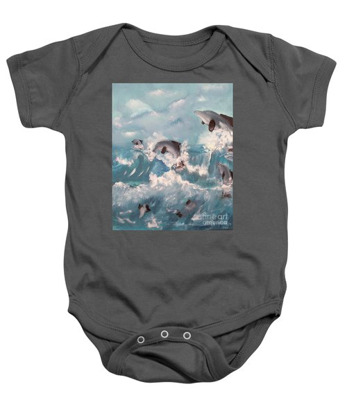 Dolphins At Play Baby Onesie