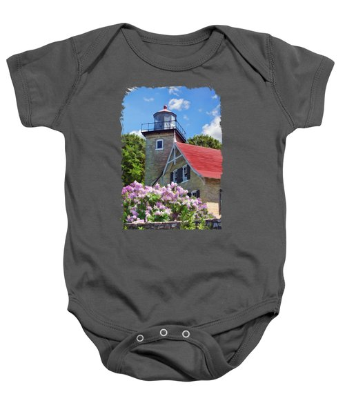 Door County Eagle Bluff Lighthouse Lilacs Baby Onesie by Christopher Arndt