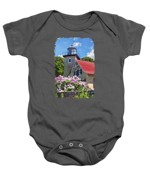 Door County Eagle Bluff Lighthouse Lilacs Baby Onesie