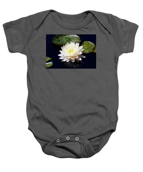 Dotty White Lotus And Lily Pads 0030 Dlw_h_2 Baby Onesie