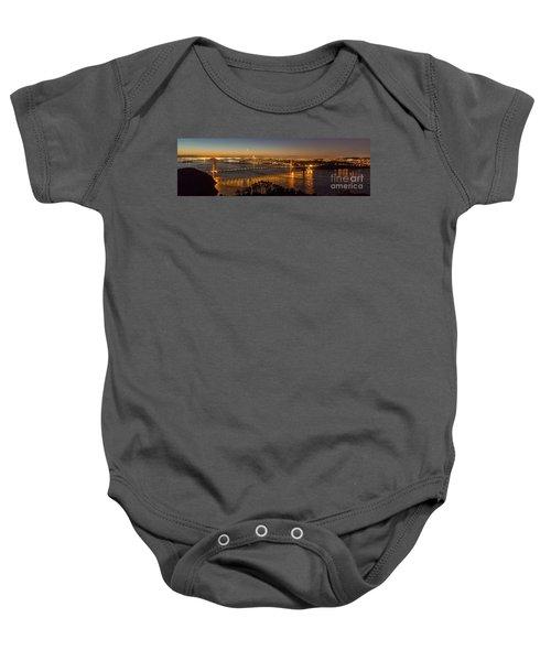 Downtown San Francisco And Golden Gate Bridge Just Before Sunris Baby Onesie