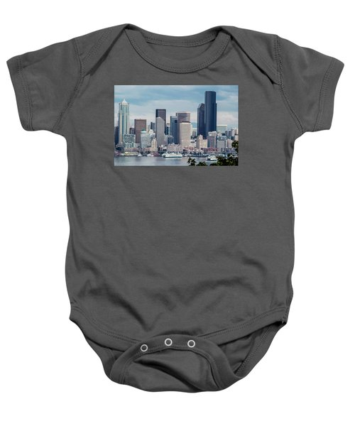 Downtown Seattle And Ferries Baby Onesie