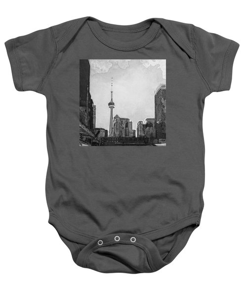 Downtown Toronto In Bw Baby Onesie