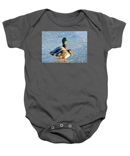 Duck Pair On Frozen Lake Baby Onesie