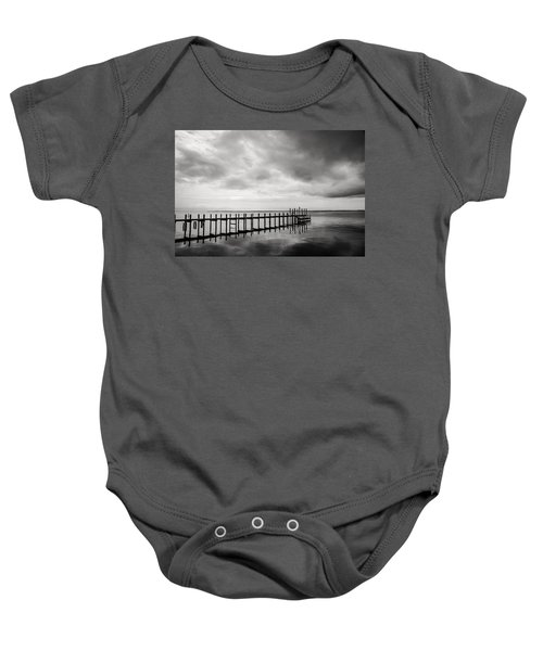 Duck Pier In Black And White Baby Onesie