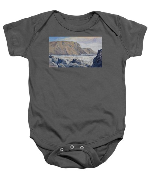 Baby Onesie featuring the painting Duckpool Boulders by Lawrence Dyer