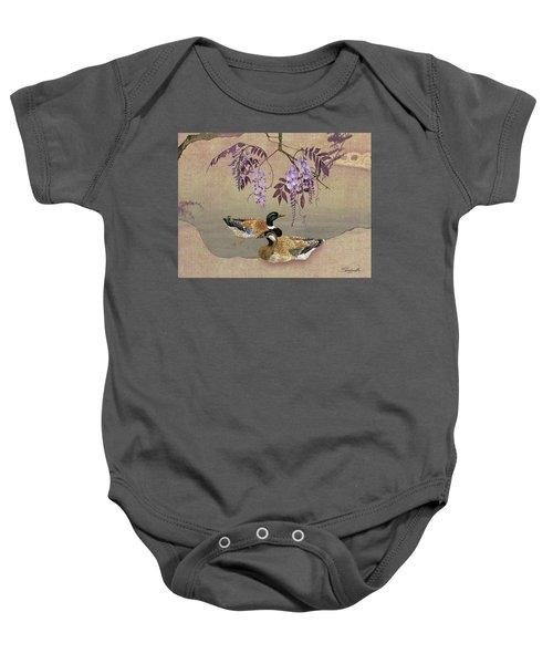 Ducks Under Wisteria Tree Baby Onesie