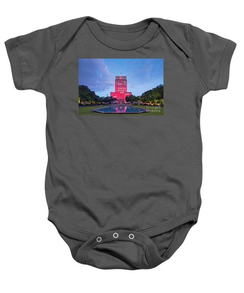 Early Dawn Architectural Photograph Of Houston City Hall And Hermann Square - Downtown Houston Texas Baby Onesie