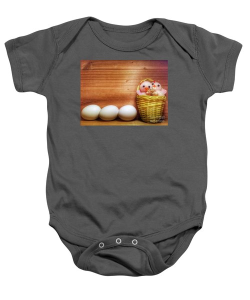 Easter Basket Of Pink Chicks With Eggs Baby Onesie