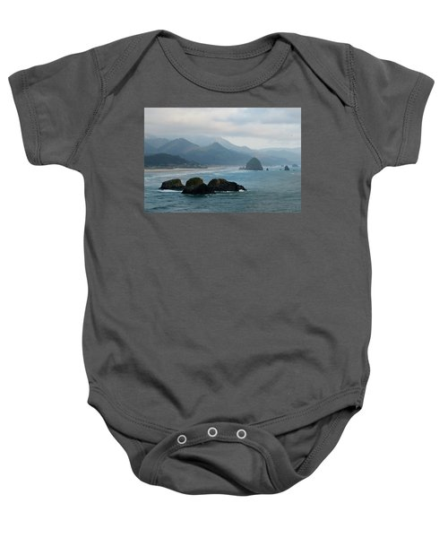 Ecola State Park View Of Haystack Rock And 3 Arch Rocks Baby Onesie