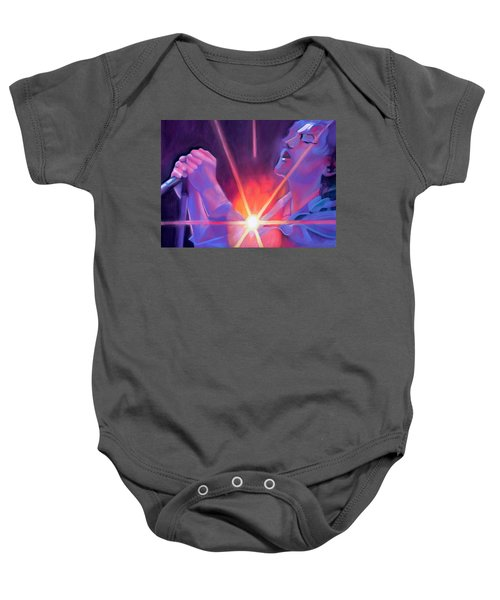Eddie Vedder And Lights Baby Onesie by Joshua Morton