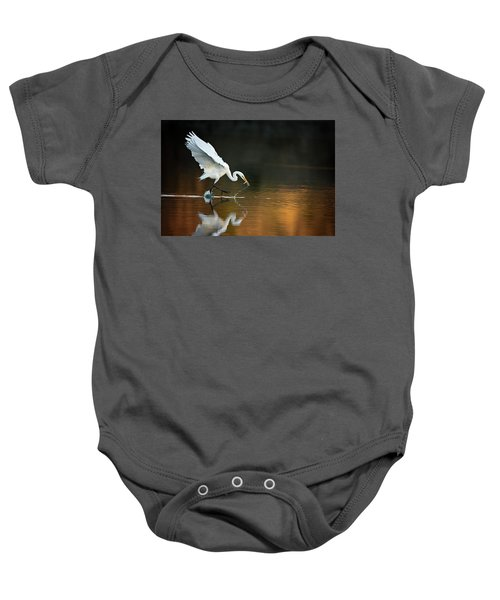 Egret At Sunset Baby Onesie