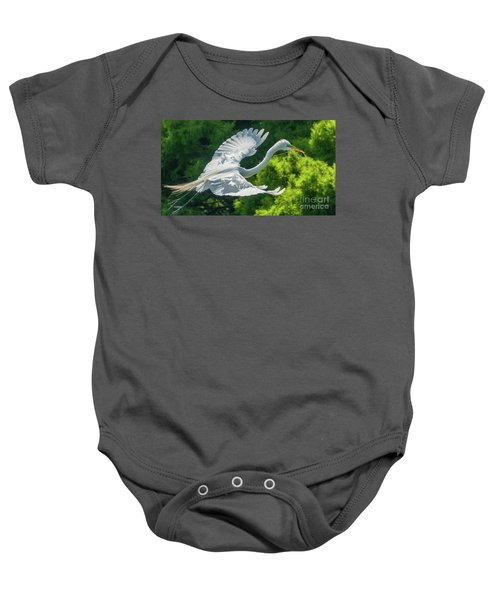 Egret Flying With Twigs Baby Onesie