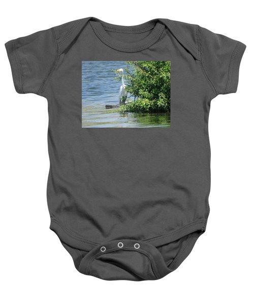 Great Egret In The Marsh Baby Onesie