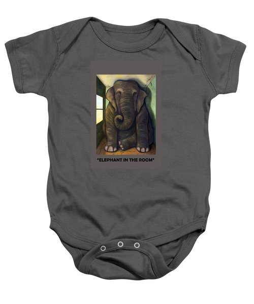 Elephant In The Room With Lettering Baby Onesie