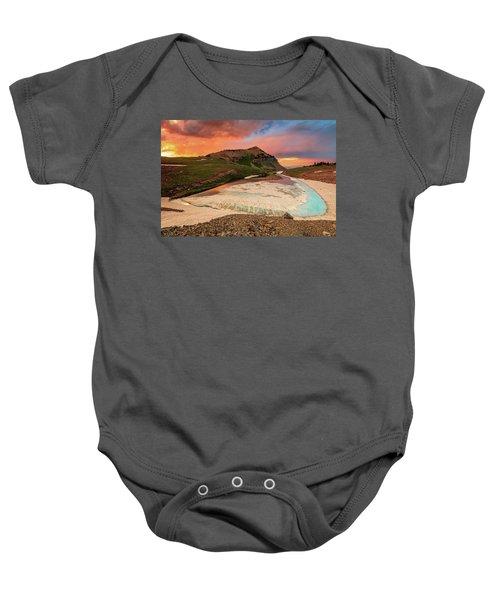 Emerald Lake Sunset Baby Onesie