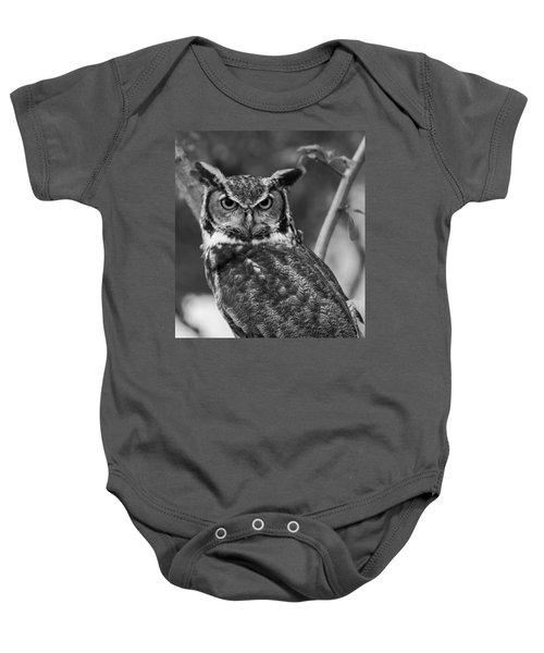 Eurasian Eagle Owl Monochrome Baby Onesie