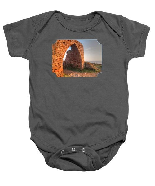 Evening Light On Grosnez Castle Ruins Jersey Baby Onesie by Gill Billington