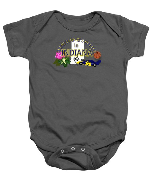 Everything's Better In Indiana Baby Onesie by Pharris Art