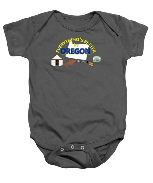 Everything's Better In Oregon Baby Onesie by Pharris Art
