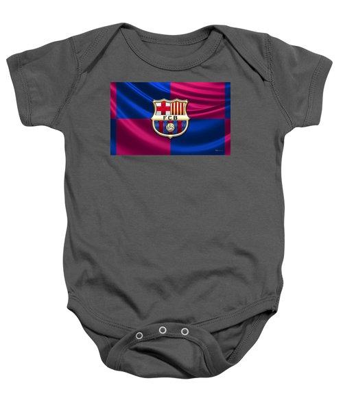 F. C. Barcelona - 3d Badge Over Flag Baby Onesie