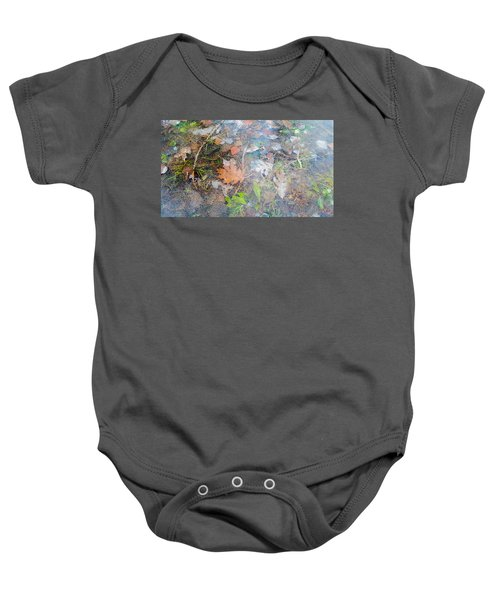 Fall Leaves In A Frozen Puddle Baby Onesie