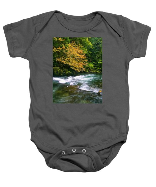 Fall On The Clackamas River, Or Baby Onesie