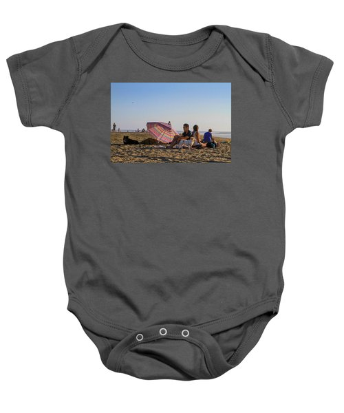 Family At Ocean Beach With Dogs Baby Onesie