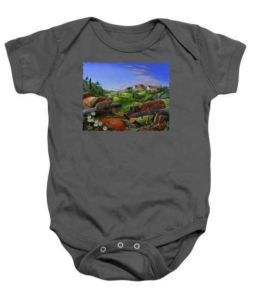 Farm Folk Art - Groundhog Spring Appalachia Landscape - Rural Country Americana - Woodchuck Baby Onesie by Walt Curlee