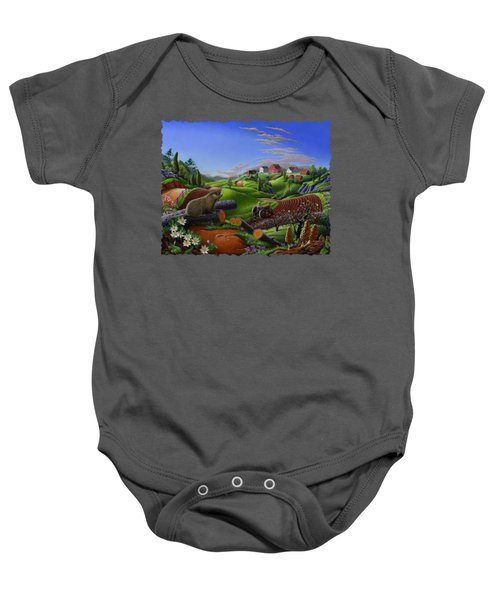 Farm Folk Art - Groundhog Spring Appalachia Landscape - Rural Country Americana - Woodchuck Baby Onesie