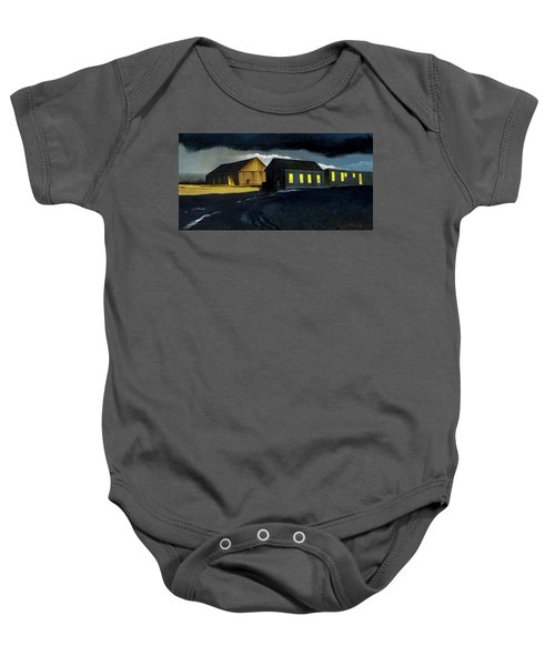 Farm Yard With Moonlight And Rain Baby Onesie