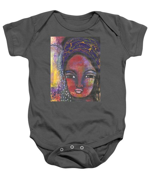 Baby Onesie featuring the mixed media Feather In My Cap by Prerna Poojara