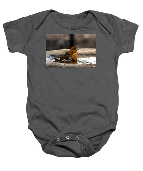 Female Summer Tanager In Bird Bath Baby Onesie