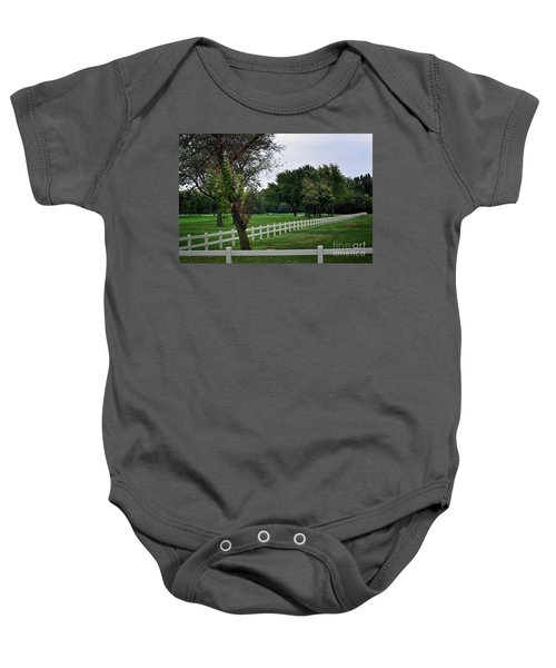 Fence On The Wooded Green Baby Onesie