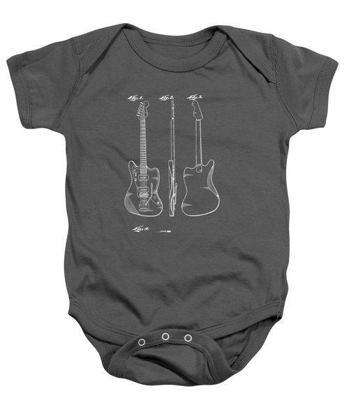 Fender Guitar Drawing Tee Baby Onesie by Edward Fielding