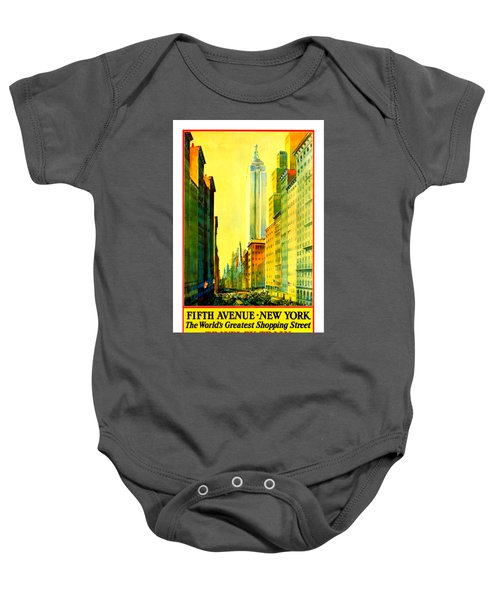 Fifth Avenue New York Travel By Train 1932 Frederick Mizen Baby Onesie by Peter Gumaer Ogden Collection