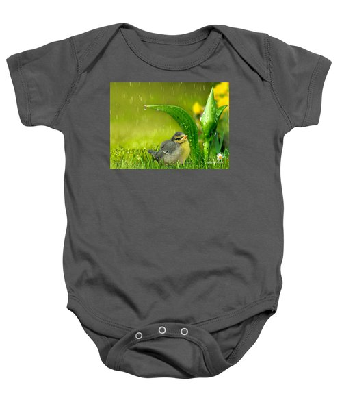 Baby Onesie featuring the mixed media Finding Shelter by Morag Bates