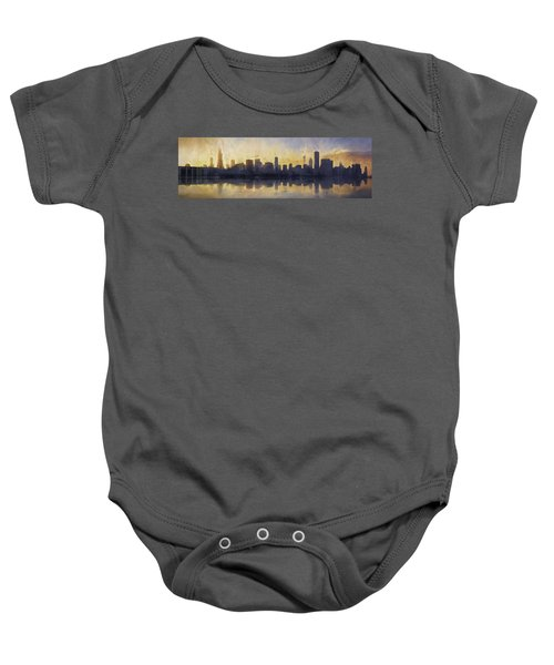 Fire In The Sky Chicago At Sunset Baby Onesie by Scott Norris