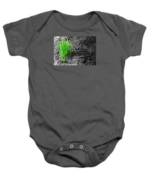 First Green Shoots Of Spring And Dirt Baby Onesie