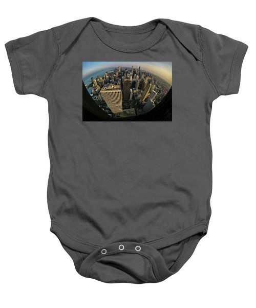 Fisheye View Of Dowtown Chicago From Above  Baby Onesie