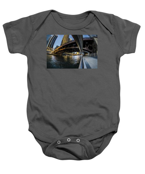 Fisheye View From The Chicago Riverwalk Baby Onesie