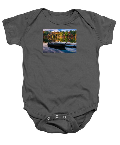 Baby Onesie featuring the photograph Fishing Boat On Mirror Lake by Rikk Flohr